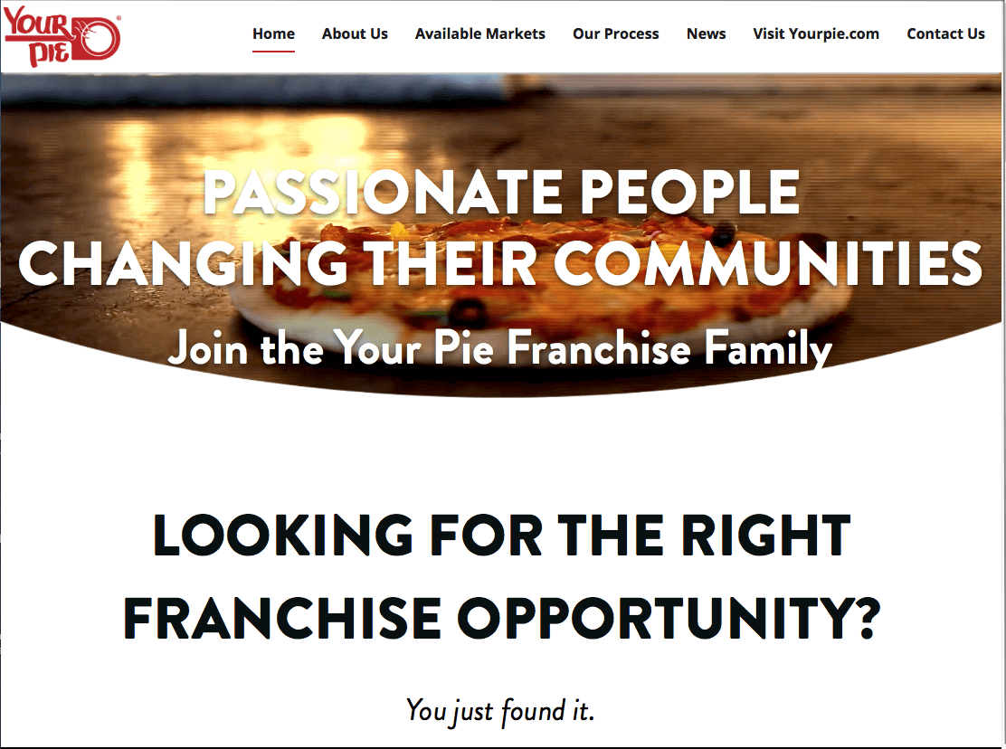 your pie franchise website launch